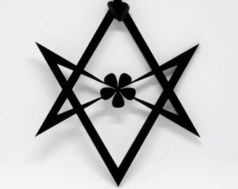 Black Unicursal Hexagram Acrylic Pendant on Vegan/Vegetarian Friendly Cotton Cord Necklace. Crowley Occult Goth Thelema