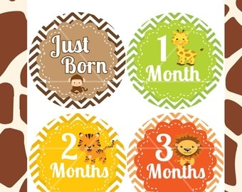 Baby Monthly Stickers, 4 inch Circles, Just born stickers, Instant Download, Baby, Safari stickers