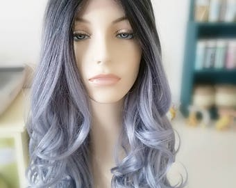 Ombre blue/silvery blue Lace Part Synthetic wig, Long wavy pink wig, Fairy Hair Wig, Photo Shoot wig, Photo Prop wig