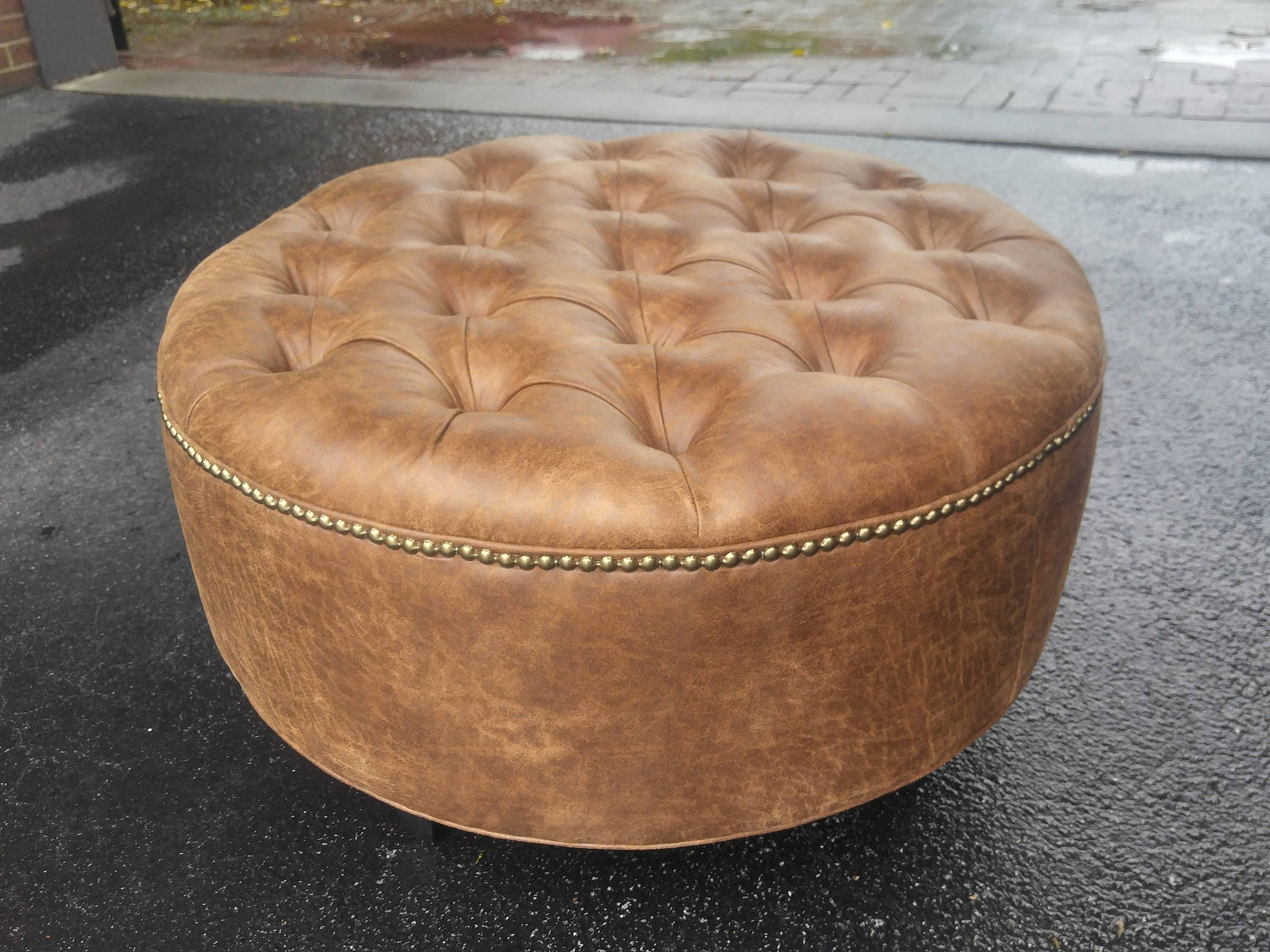 Distressed Vegan Leather Tufted Upholstered Ottoman