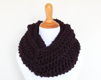 READY TO SHIP - Hand Knit Cowl, Chunky Knit Cowl, Chunky Knit Scarf, Long Loop Scarf, Eggplant - Argon Cowl