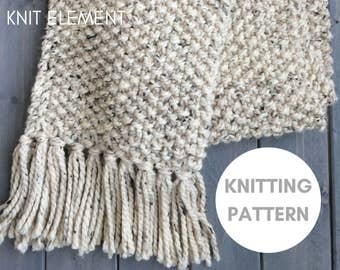 Knitting Scarf Patterns Beginners : Knit scarf pattern Etsy