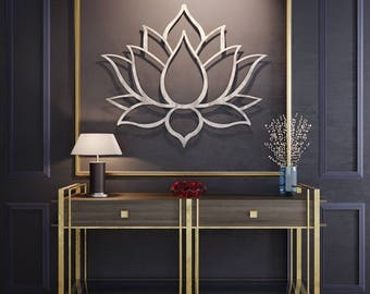 Lotus Flower Wall Art brushed lotus flower metal wall art lotus metal art home