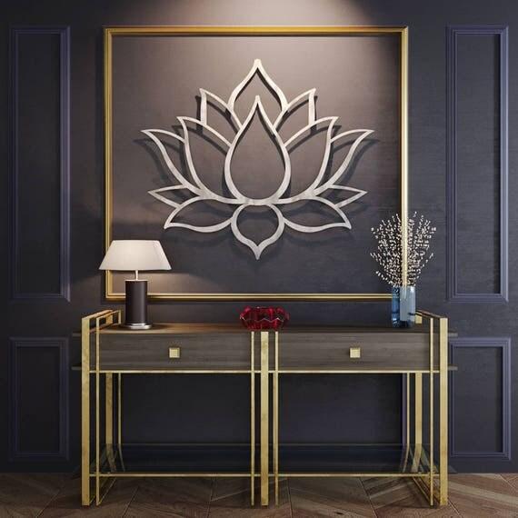 Large Lotus Flower Metal Wall Art Metal Flower Wall Art