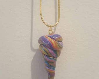 Rainbow unicorn horn charm necklace