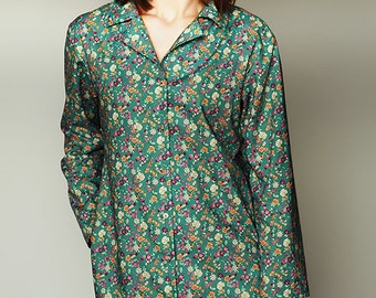 Cotton womens nightshirts, floral nightshirts, floral shirts, floral shirtdress, with pockets, romantic small flowers print, hospital gown,