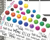 Bath Bomb! set of 32 or 38 stickers for your Erin Condren, Inkwell Press, Happy Planner or other planner!