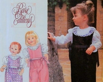 Toddlers' Girls Romper & Blouse Pattern - Sizes  1/2, 1 and 2 - Rare Editions - Simplicity 9847 - Uncut