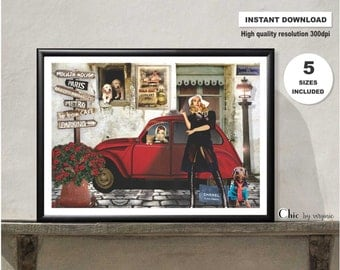 Brigitte Bardot Print, Paris poster, Brigitte bardot, Audrey Hepburn, Paris Illustration, Instant Download, Printable art, Wall art