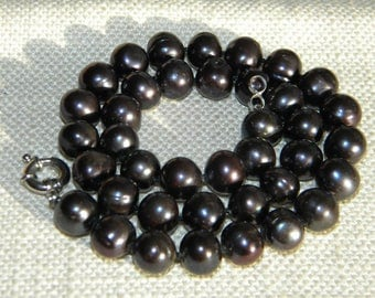 LARGE Freshwater PEARLS necklace ~ BLACK ~ silver 925 clasp ~ A2193