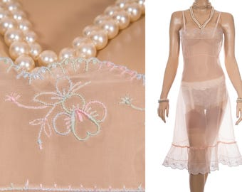 Seductive outrageously sheer flimsy peach Perlon and delicate embroidered bodice and hem detail 1950's vintage full slip petticoat - S307
