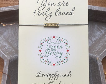 """Courage Tag String Bracelet on """"you are truly loved"""" quote card madebygreenberry wish bracelet"""