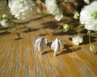 Leaf Sterling Silver Stud Earrings