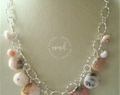 Pink Opal and Sterling Silver Chain, Bib Necklace