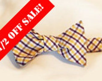 Purple and Gold Plaid Mens Bow Tie Sale!
