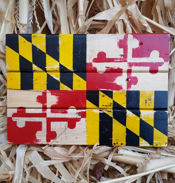 Reclaimed Wood Maryland Flag Wall Decor. Distressed Pallet Maryland Flag.  Handmade Flag. Maryland - Reclaimed Wood Maryland Flag Wall Decor. Distressed Pallet