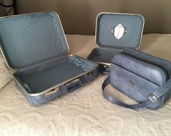 Three Piece Blue Marbled Luggage Set, 1960s
