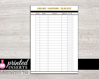 A5 Printed Planner Inserts - Online Shopping Tracker - Planner Inserts - Filofax A5 - Kikki K Large - Design: Goldie