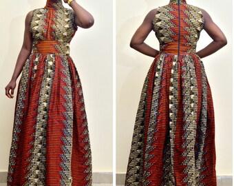 African Print Geometric Maxi Dress