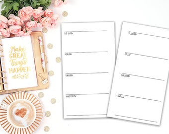 week on 2 pages printable planner insert - Filofax personal - Kikki K Medium - print at home - planner refill - WO2P - weekly agenda