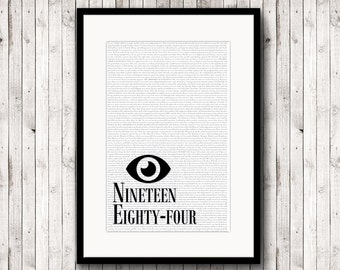 George Orwell, Nineteen Eighty-Four, Book Cover Poster, Literary Gift, Minimalist Poster, Scandinavian Print