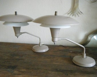 Pair Of Mid Century Modern 1950's Atomic Age Flying Saucer Industrial Table Lamp
