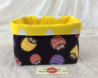 Owls Fabric basket short reversible organiser bin storage sewing. Handmade in England