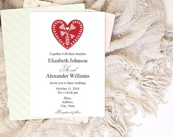 Red heart invitation template Scandinavian wedding Minimalist invites diy Modern wedding invitation printable Digital download T147
