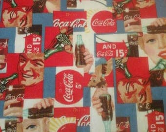SALE.....Coca-Cola Coke Flannel Fabric 1 Yard Cotton