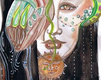 """Goddess series """"Falconer Goddess""""  Art Print of original watercolor"""