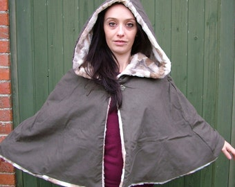 Hooded Cloak Cape olive moleskin and faun faux fur, fashion, LOTR, wedding cloak renaissance cape, poncho, festival winter coat, fantasy