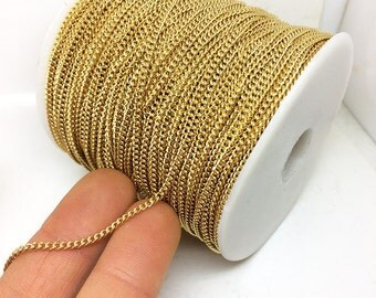 10/50M Real Gold Plated Round or Flat Curb Link Stainless Steel Chain 2.2x3.0mm Soldered