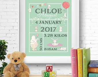 Birth stats print, wall art, birth announcement print, personalised, customised, bunnies, rabbits, bears, baby girl, green, digital