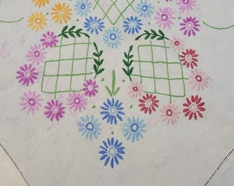 Vintage Large Rectangular White Tablecloth, Hand Embroidered Floral Table Cloth, 86ins x 68ins, Housewarming Gift