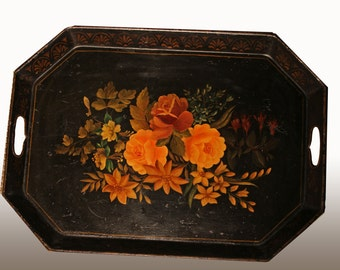 Regency Toleware Tray. Hand painted Japanned ware