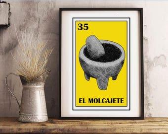 Mexican loteria, El molcajete loteria, Mexican Avocado guacamole, Mexican kitchen, Mexican chile salsa, Cinco de mayo party, Mexican Fiesta