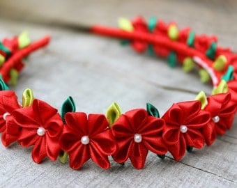 First day Small flower crown Birthday gift for girl Valentine headband Kanzashi Red flower headband Gift for baby girl headband Photo prop