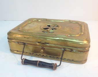 Antique, French Suitcase Style, Brass Foot / Hand Warmer By 'girodon & Co' Lyon