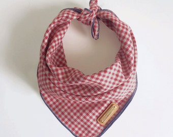 WENDL. Dog Bandana Red and Grey Micro Gingham. All sizes: small, medium, large, xl