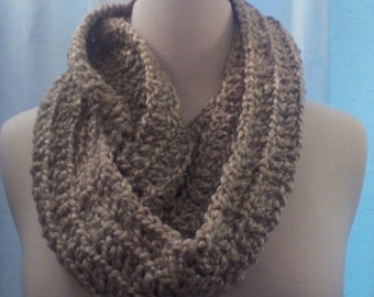 Warm and cozy oatmeal color infinity scarf