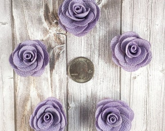 Lavender burlap flowers - Set of 5 - Crafting roses - Craft supply flowers - 1 3/4 inch - DIY headband - Crafting supplies - Burlap roses