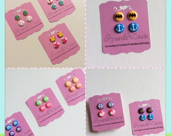 Customizable Candy button earrings