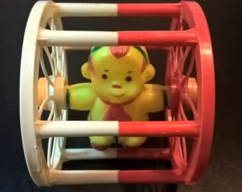 Vintage Monkey in a Wheel Toy **FREE SHIPPING**