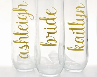 Bridesmaid Wine Glasses Personalized, Bridesmaid Gifts on a Budget- Bridesmaid Proposal - Bachelorette Party Gift Ideas - Champagne Flutes