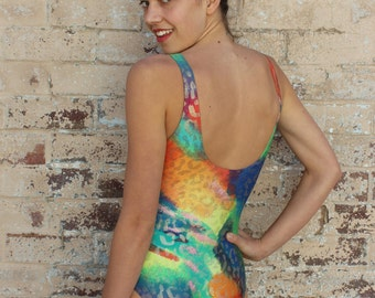Vintage 90s Brightly Coloured High Cut Swimsuit with Gold Print - Sz S - Swimwear Bathers