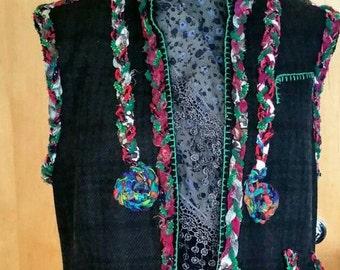Handmade Alteration Jacket, Wool Jacket, New Way, Fashionable alteration, New Alternative, Arm less, Crocheted, Alteration for order, Boho