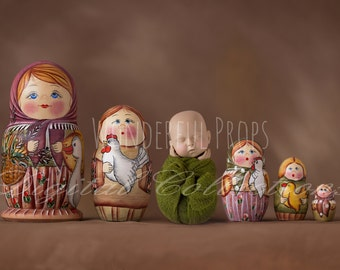 Newborn and Russian Dolls - SET of 2 JPGs- Digital Backdrop - Photo Prop for Newborn Photography