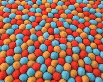 120cm Felt Ball Rug ON SALE ~ 3 Color Combination Felt Wool Rug ~ Fire Red Mint and Mustard Colour Nursery Kids Room Home Decor Rug