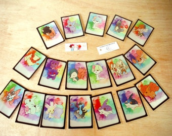 Watercolor Pokemon chibi card Sleeves