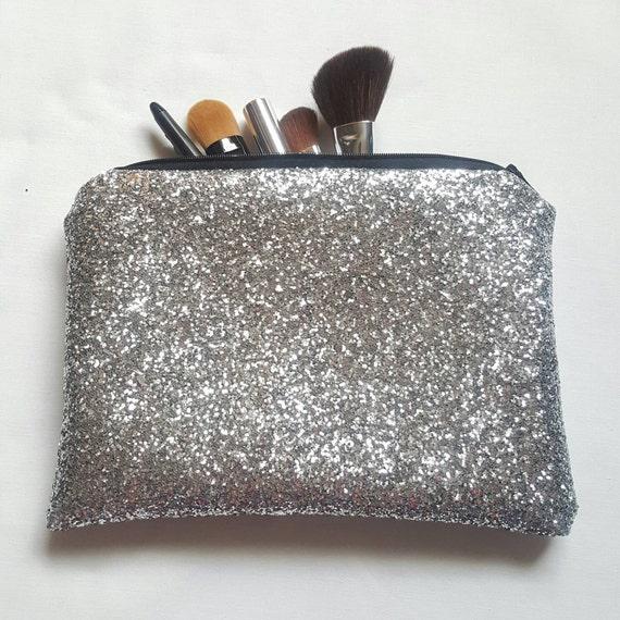 Silver Glitter Fabric Clutch Bag Makeup Bag Toiletries Bag